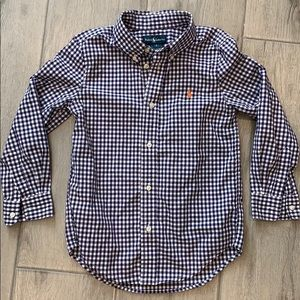 Ralph Lauren Boys 6 Blue Check Button Down Shirt